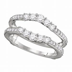 14kt white gold womens round diamond ring guard wrap With womens wedding ring wraps
