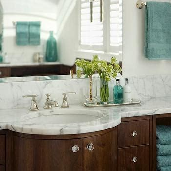 Teal Cabinets   Cottage   bathroom   House & Home
