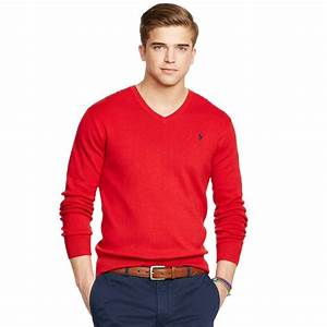 Polo V : polo ralph lauren pima cotton v neck sweater in red for men charter red lyst ~ Gottalentnigeria.com Avis de Voitures