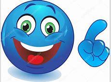 Smiley bleu avec une main pointant du doigt — Image
