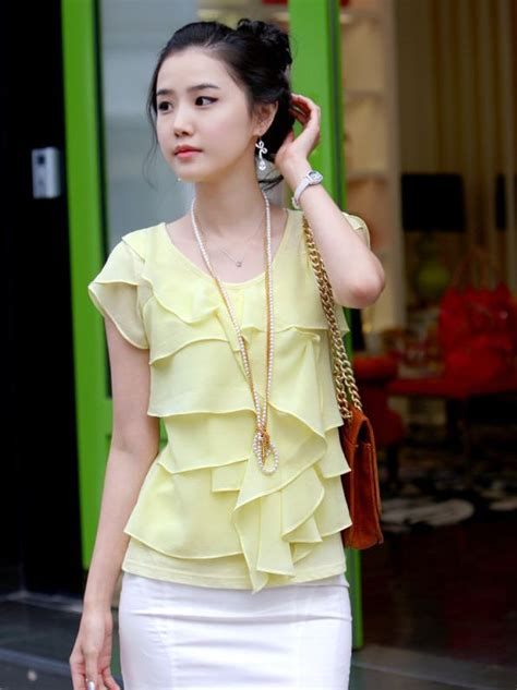 light yellow blouse newest color tiered princess sleeve light