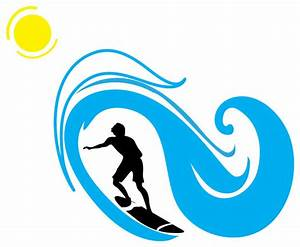 Surfer And Wave Silhouette Sports - Contemporary - Wall
