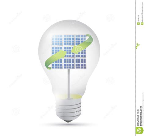 solar panel inside a idea electricity light bulb royalty