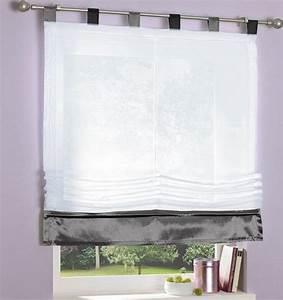 Raffrollo Weiß Grau : 1 st raffrollo 120 x 155 wei grau schwarz rollo schlaufen ~ Lateststills.com Haus und Dekorationen