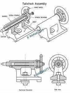 Machine Drawing  Tailstock Of Lathe