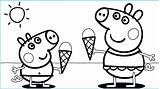 Ice Cream Coloring Pages Peppa Printable Kawaii sketch template