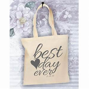 bride tote bag best day ever bag personalized tote for With wedding tote gift bags