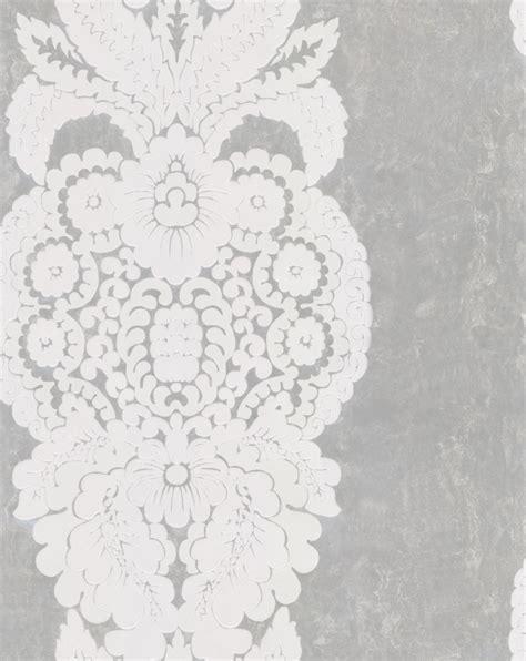 Rowan Damask Flock by Thibaut   White / Silver Foil