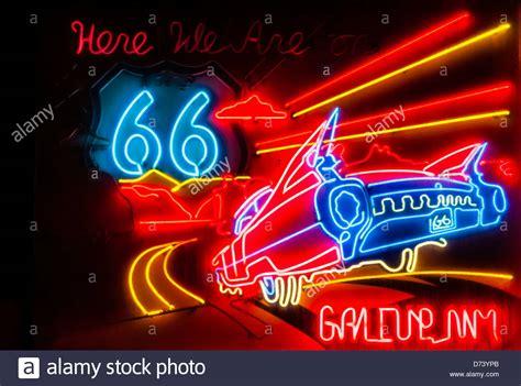 Neon Route 66 Sign, Gallup, New Mexico Usa Stock Photo