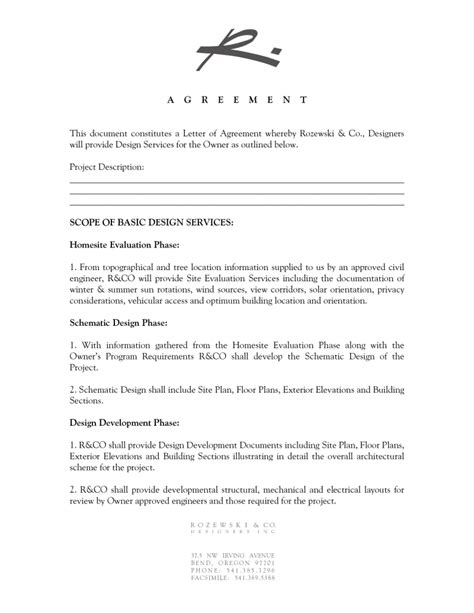 interior design contract template interior design letter of agreement template