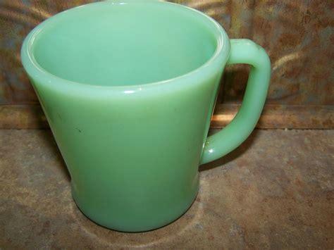 vintage green glass l vintage oven ware green jadeite green glass mug sold on