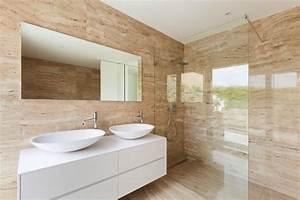 48 salles de bain de luxe en pierre naturelle a decouvrir With salle de bain design avec vasque en marbre beige