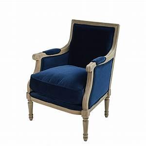 Fauteuil Velours Bleu : fauteuil en velours bleu nuit casanova maisons du monde ~ Teatrodelosmanantiales.com Idées de Décoration