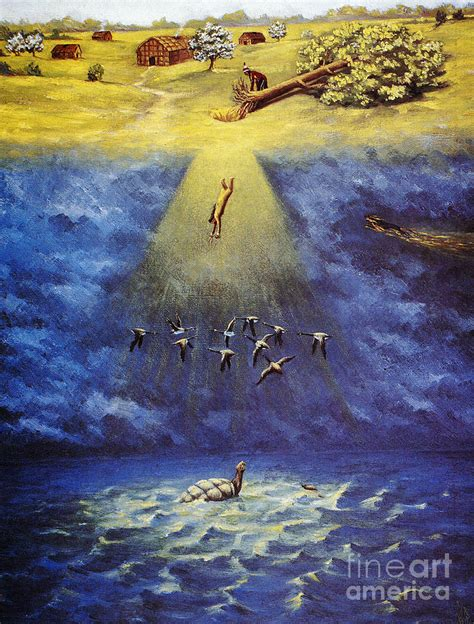 Iroquois Creation Myth Painting by Granger