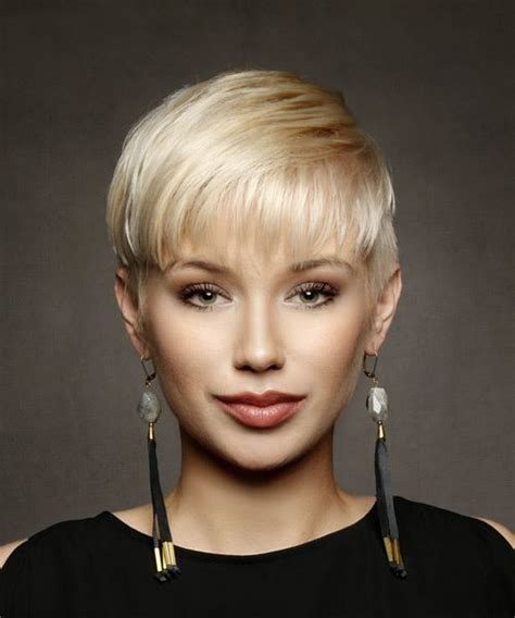 casual short straight pixie hairstyle  layered bangs