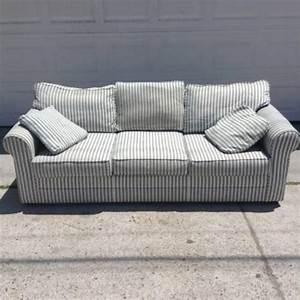 Green, U0026, White, Striped, Upholstered, Sofa
