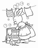 Coloring Washing Colouring Ausmalbilder Kleidung Sheets Desenho Kostenlos Votos Manet Herunterladen Bunny sketch template