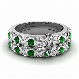cross design pear shaped pave diamond wedding ring set With emerald wedding ring sets
