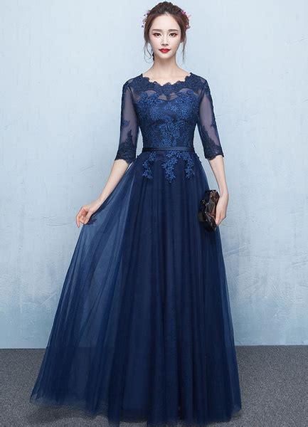 prom dress  long lace applique evening dress tulle