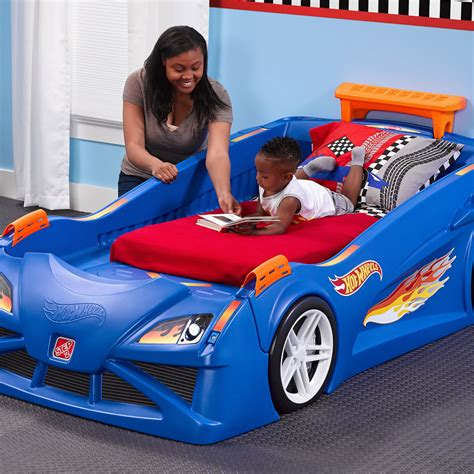 hot wheels toddler  twin race car bed kids bed step