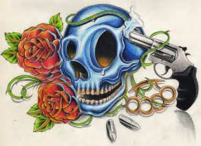 Gun Skull and Roses Tattoos Designs