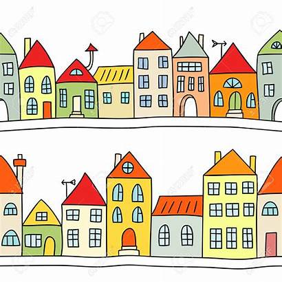 Houses Row Clipart Background Terraced Vector Illustration