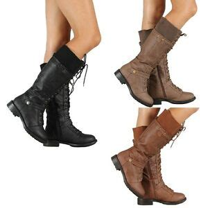 womens military combat fashion boots lace knee high