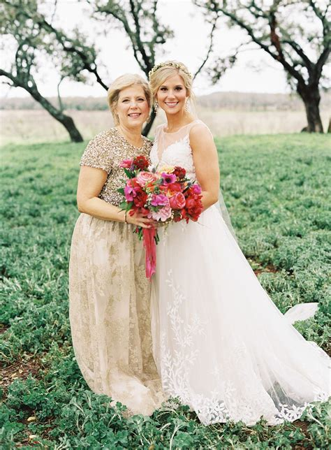colorful boho glam texas hill country wedding mother