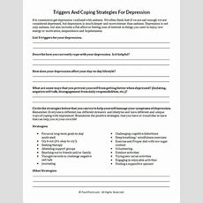 Triggers And Coping Strategies For Depression Worksheet  Marriage And Family Therapy
