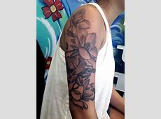 And Black White Sleeve Tattoos Floral 6