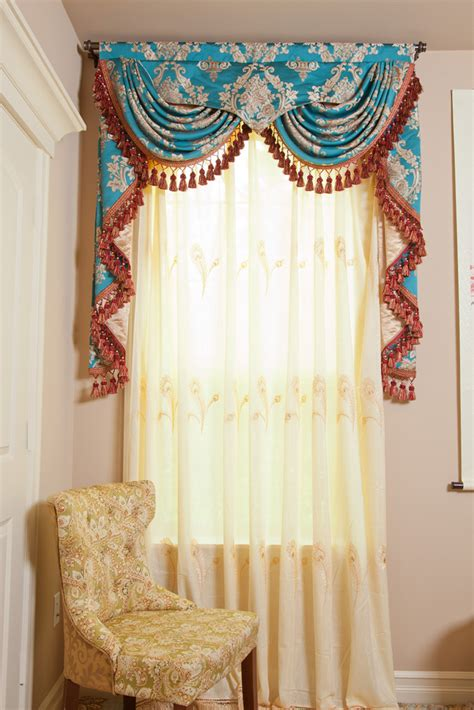 blue lantern swag pelmet valances curtain drapes