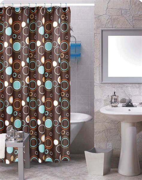 brown circles shower curtain 12 matching rings bathroom