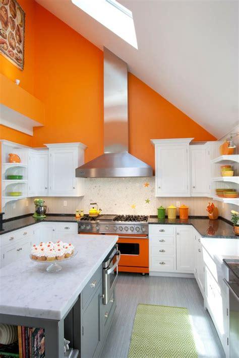 cuisine orange et gris cuisine couleur orange pour un décor moderne et énergisant