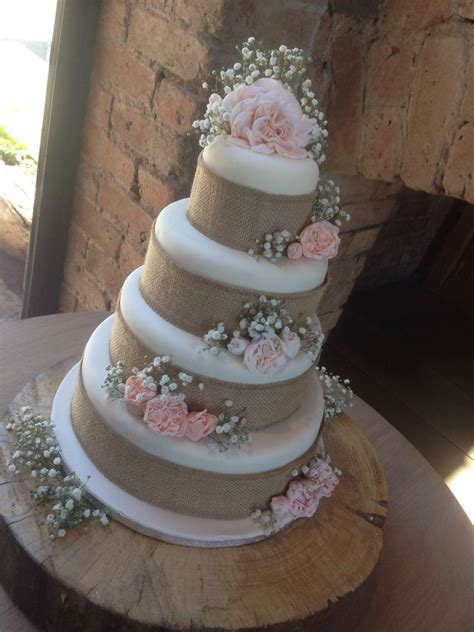 rustic hessian stunning wedding cake four tiers with baby