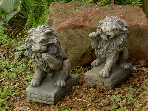 garden statues pair on pedestals 10 quot h cement garden outdoor statues