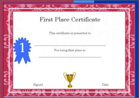 place award template image template volunteer