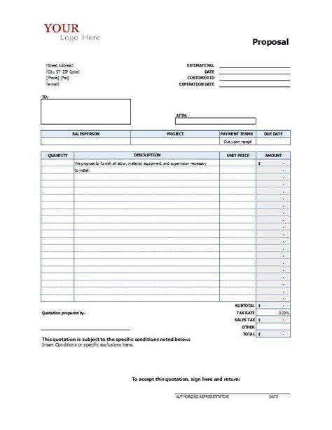 proposal form construction proposal templates