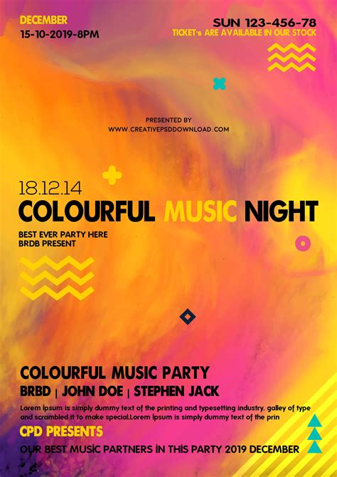 Colorful Flyer Psd Template Free Download by Colourful Music Party Flyer Psd