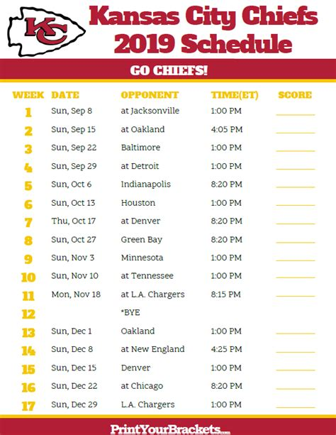 printable kansas city chiefs schedule  season