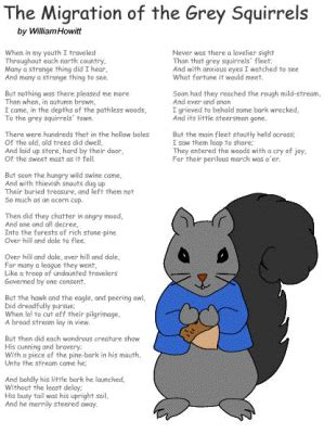 poem  migration   grey squirrels  william howitt