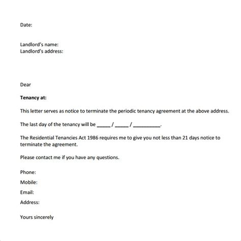 letter from landlord to move out letter to landlord template 28 images 30 day Sle