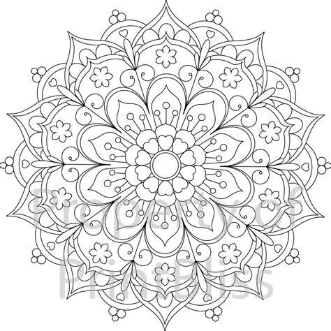 25 flower mandala printable coloring page by printbliss