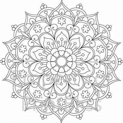 Mandala Coloring Printable Pages Flower Adult Adults