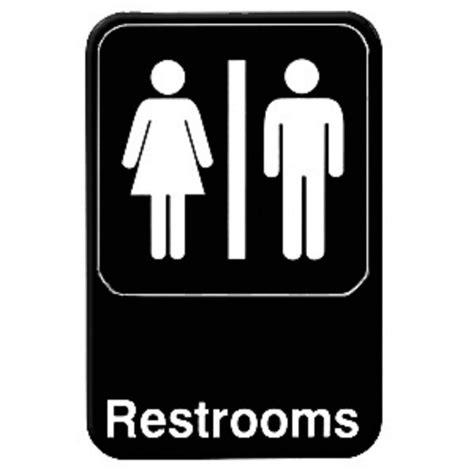 """Restroom Sign  Bathroom Sign  Unisex Women & Men 6"""" X 9"""