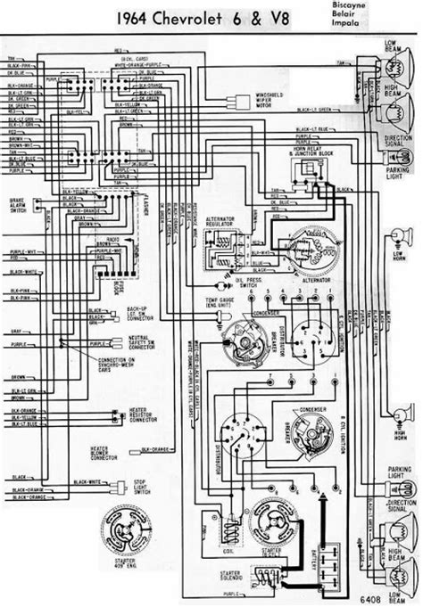 Chevrolet Electrical Diagram by 1964 Chevrolet 6 V8 Electrical Wiring Diagram Schematic