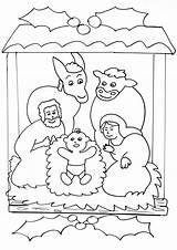 Nativity Scene Simple Coloring Crib Drawing Scenes Colouring Noel Preschool Children Young Printable Getdrawings Noël sketch template