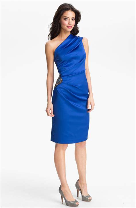 Eliza J Beaded One Shoulder Satin Dress