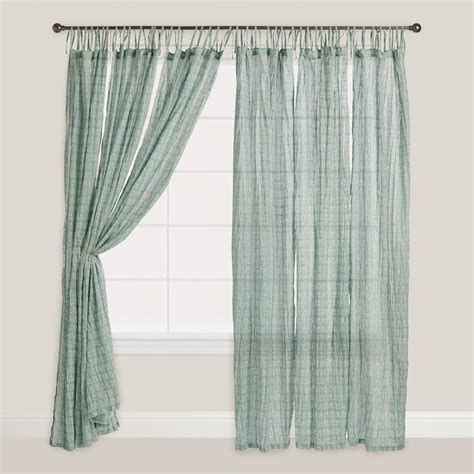 aqua and navy bhuti tie top crinkle voile curtains set of