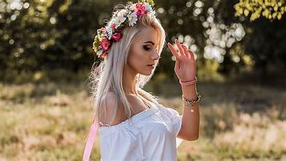 Flowers Portrait Blonde Flower Woman Spring Lady