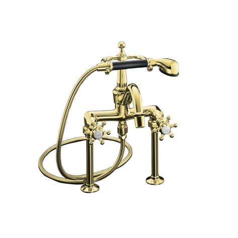 shop kohler antique vibrant polished brass 2 handle deck
